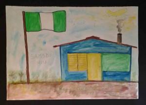 Heute bat ich einige Teilnehmer, Bilder aus ihrer Heimat zu gestalten. Zufällig waren die drei Künstler alle aus Sierra Leone.